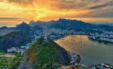 Rio de janeiro, city, mountains, sunset, sky