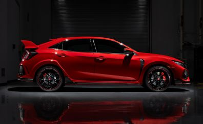 Red, Honda civic type R, side view, car