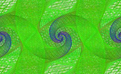 Green spirals, pattern, abstract