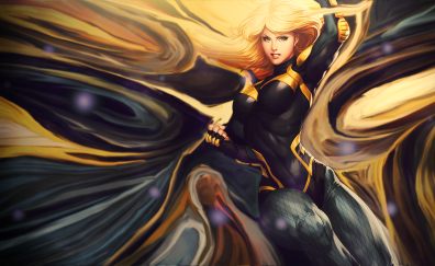 Blonde, black canary, art