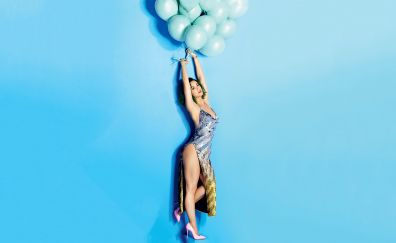 Katy perry, singer, and blue balloons