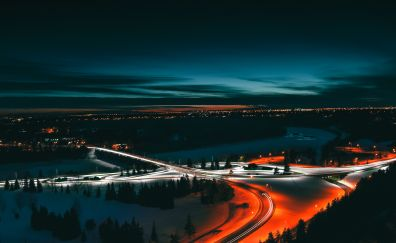 Edmonton, city, canada, night, lights, 5k