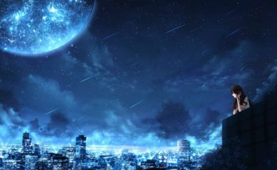 Night out, city, anime girl, original