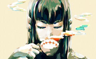 Drinking tea, anime girl, Satsuki Kiryūin, Kill la Kill, art
