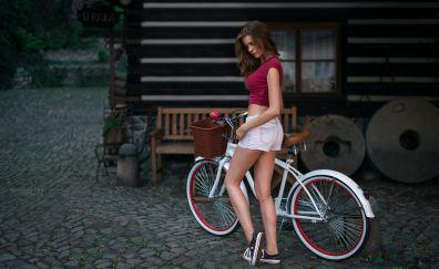 Short jeans, girl model, bike, outdoor