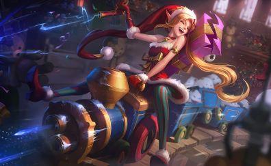 Santa Jinx, league of legends, online game, Christmas