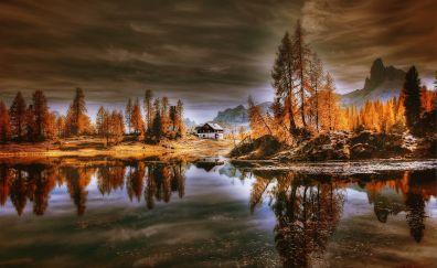Dolomites, lake, reflections, house