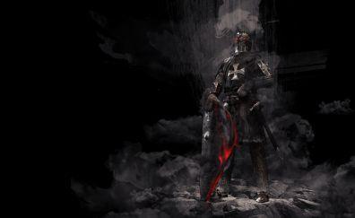 Dark, knight, warrior, 4k