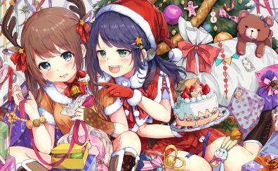 Christmas party, anime girls, cute, 4k