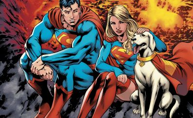 Superman and supergirl, superhero, comics