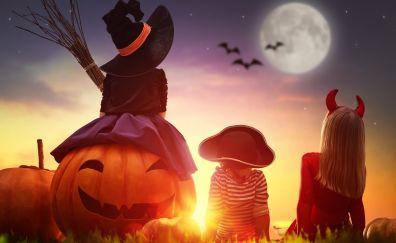 Kids, pumpkin, halloween, costume, sunset, 4k