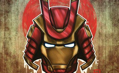 Marvel, samurai, iron man, art, 4k