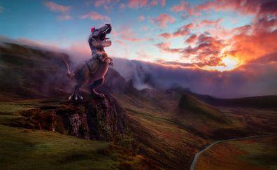 Super mario odyssey, dinosaur, game, landscape, 4k
