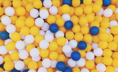 Balls, yellow blue and white balls, 4k