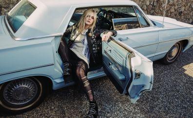 Blonde, Elle Fanning, actress, classic car