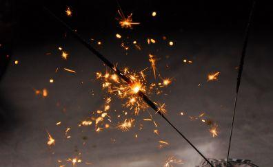 Sparklers, night, fireworks