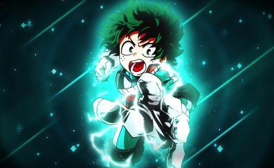 Izuku Midoriya, green hair, angry, anime boy