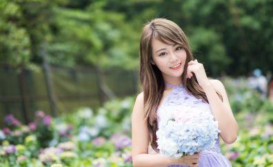 Beautiful, Asian model, garden, flowers, smile