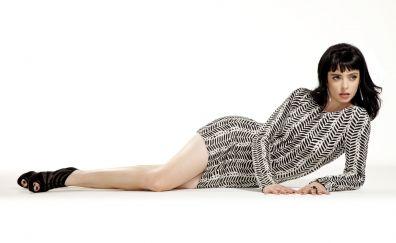 Krysten Ritter, lying down, brunette, photoshoot