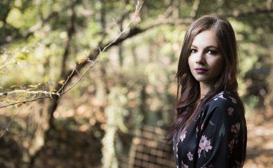 Brown eyes, girl model, 4k, outdoor