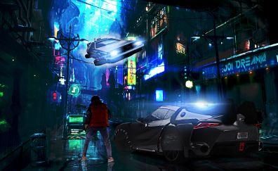 Back to the future, movie, city, night, art