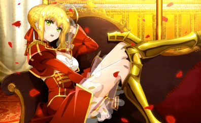 Red saber, anime girl, fate series, 5k