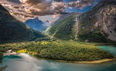 Naeroyfjord, fjord, Norway, river, valley, mountains, waterfall