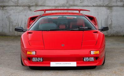 Lamborghini diablo, red, front, 5k