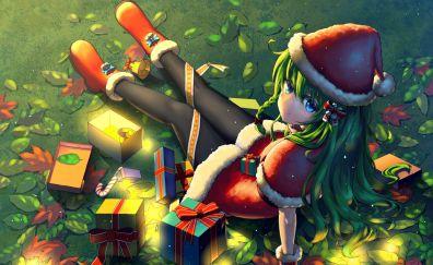 Santa, anime girl, gifts, original
