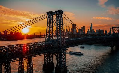 New york, usa, bridge, sunrise, skyline, architecture, dawn, 5k