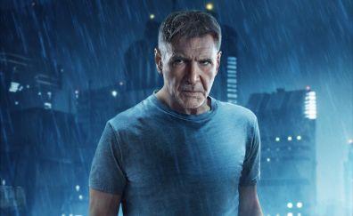 Harrison ford, rick deckard, blade runner 2049, movie, celebrity, 4k