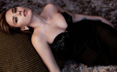 Lying down, Scarlett Johansson, black dress