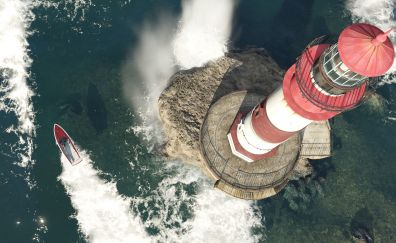 Light house and ship aerial view