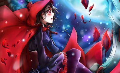 Ruby rose, anime girl, RWBY, sitting