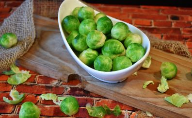Brussels sprouts vegetable dish wallpaper