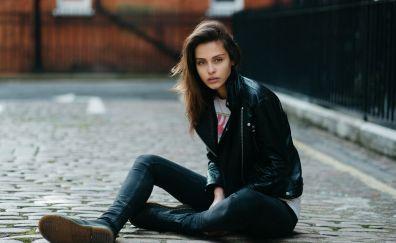 Jeans, leather jacket, girl model