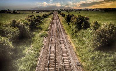 Train track, landscape, aerial view