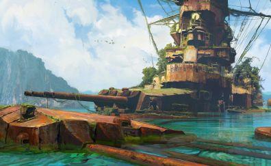 Battleship, ship, video game, art