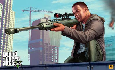 Franklin clinton, video game, sniper, gta 5, Grand Theft Auto V, game, 4k