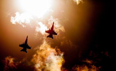 Raaf hornets, fighter jets, sky, clouds, 4k