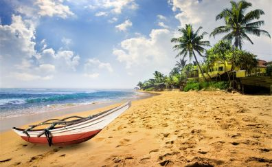 Boat, tropical beach, palm tree, sand, clouds, sky