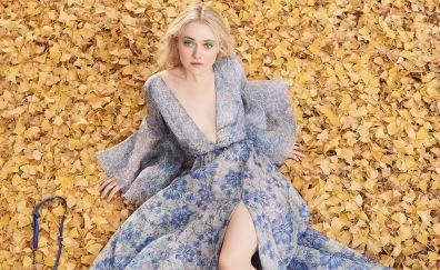 Dakota Fanning, autumn, leaves, fall