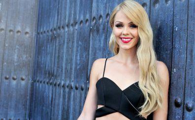Laura Vandervoort, smile, blonde, red lips