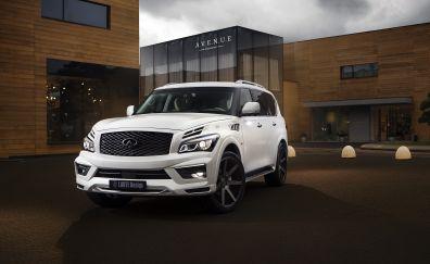 INFINITI QX80 SUV, white luxury car