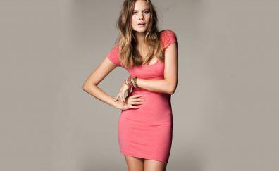 Behati Prinsloo, celebrity, blonde, pink dress