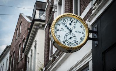 Clock, buildings, city