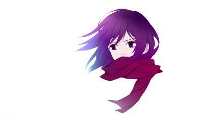 Mikasa Ackerman, Attack on titan, anime girl, face