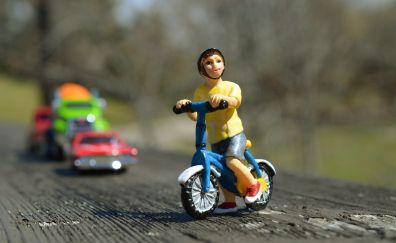 Toys, boy, bicycle, blur