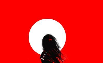 Lone girl, moon, art, red, minimal