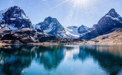 Nevado Sajama, mountains, lake, sunlight, nature